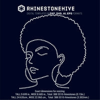 Afro woman with earnings outline rhinestone template digital download, ai, svg, eps, png, dxf - rhinestone templates