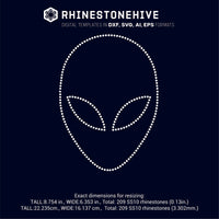 Alien face rhinestone template digital download, ai, svg, eps, png, dxf - rhinestone templates