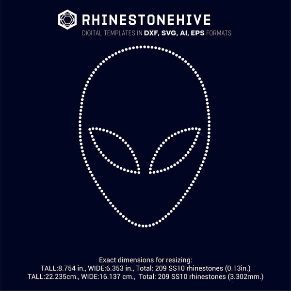 Alien face rhinestone template digital download, ai, svg, eps, png, dxf