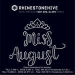 Miss August rhinestone template digital download, ai, svg, eps, png, dxf SS10