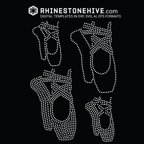 Ballerina shoes, Ballet shoes rhinestone template digital download, svg, eps, png, dxf - rhinestone templates