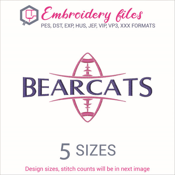 Bearcats Football Ball Embroidery in DST, EXP, HUS, JEF, PCS, PES, SEW, VIP, VP3 & XXX - rhinestone templates