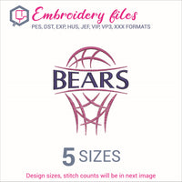 Bears team Basketball Embroidery in DST, EXP, HUS, JEF, PCS, PES, SEW, VIP, VP3 & XXX - rhinestone templates