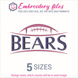 Bears Football Embroidery in DST, EXP, HUS, JEF, PCS, PES, SEW, VIP, VP3 & XXX - rhinestone templates