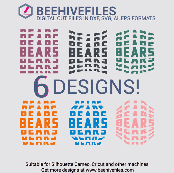 Bears team name stacked 6 styles in svg, dxf, png, ai, eps format - rhinestone templates