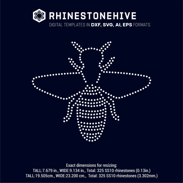 Bee rhinestone template, svg, eps, png, dxf - rhinestone templates