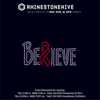 FREE until Monday Believe cure cancer rhinestone template digital download, ai, svg, eps, png, dxf - rhinestone templates