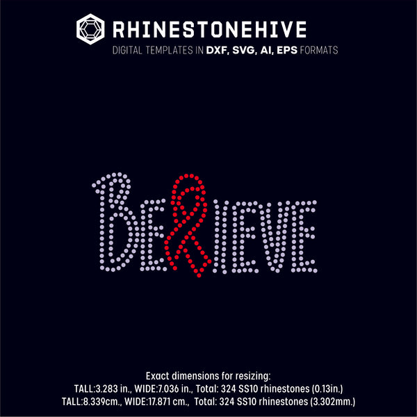Believe cure cancer rhinestone template digital download, ai, svg, eps, png, dxf - rhinestone templates