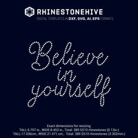 Believe in yourself rhinestone template digital download, ai, svg, eps, png, dxf - rhinestone templates