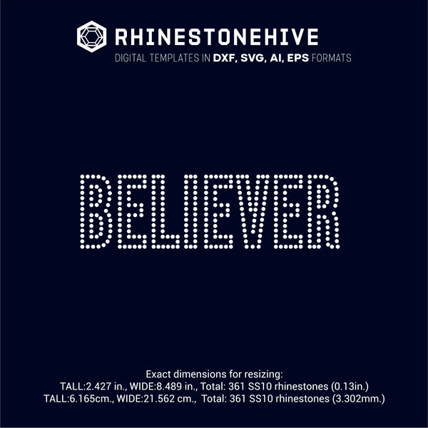 Believer outline rhinestone template digital download, ai, svg, eps, png, dxf - rhinestone templates
