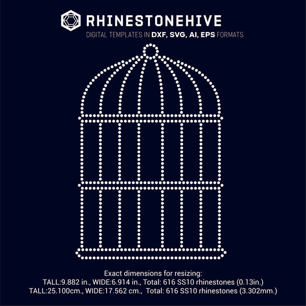 Bird cage rhinestone template digital download, ai, svg, eps, png, dxf