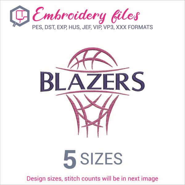 Blazers team Basketball Embroidery in DST, EXP, HUS, JEF, PCS, PES, SEW, VIP, VP3 & XXX - rhinestone templates