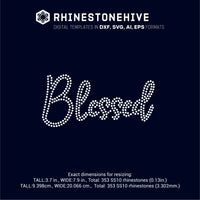 Blessed rhinestone template digital download, ai, svg, eps, png, dxf - rhinestone templates