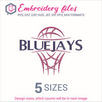 Bluejays team Basketball Embroidery in DST, EXP, HUS, JEF, PCS, PES, SEW, VIP, VP3 & XXX - rhinestone templates