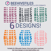 Blues team name stacked 6 styles in svg, dxf, png, ai, eps format - rhinestone templates