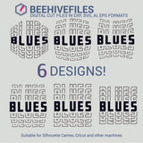 Blues team name stacked outline 6 styles in svg, dxf, png, ai, eps format - rhinestone templates