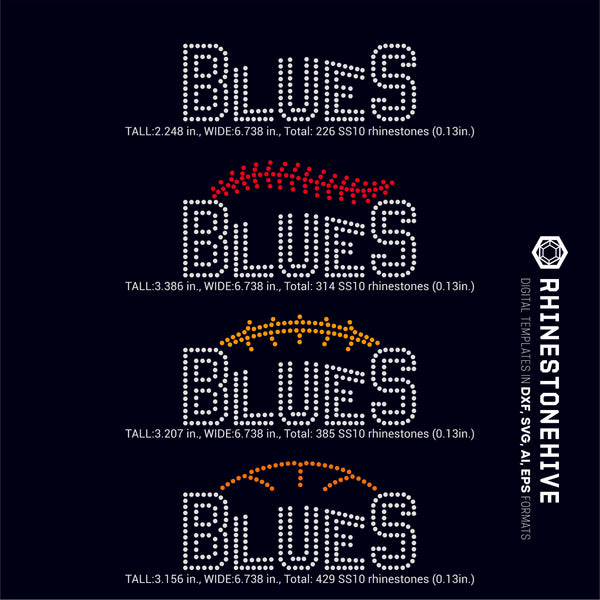 Blues team baseball, football, basketball, sport digital rhinestone templates, ai, svg, eps, png, dxf - rhinestone templates