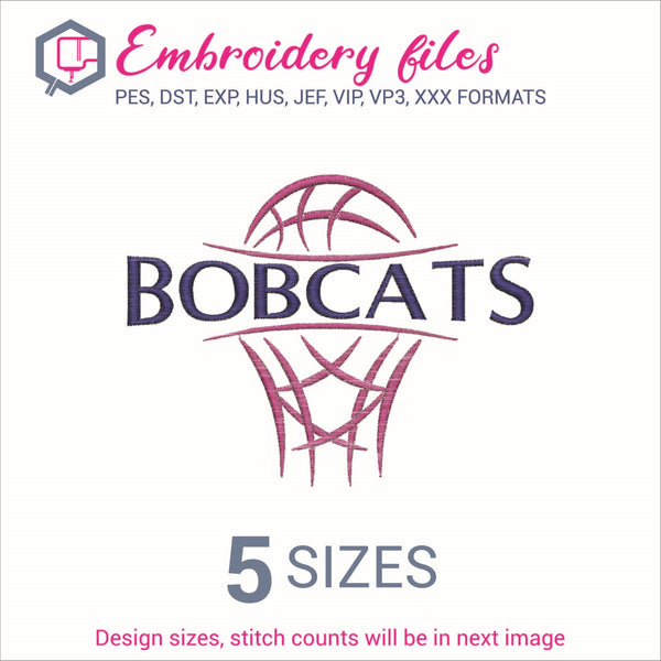 Bobcats team Basketball Embroidery in DST, EXP, HUS, JEF, PCS, PES, SEW, VIP, VP3 & XXX - rhinestone templates