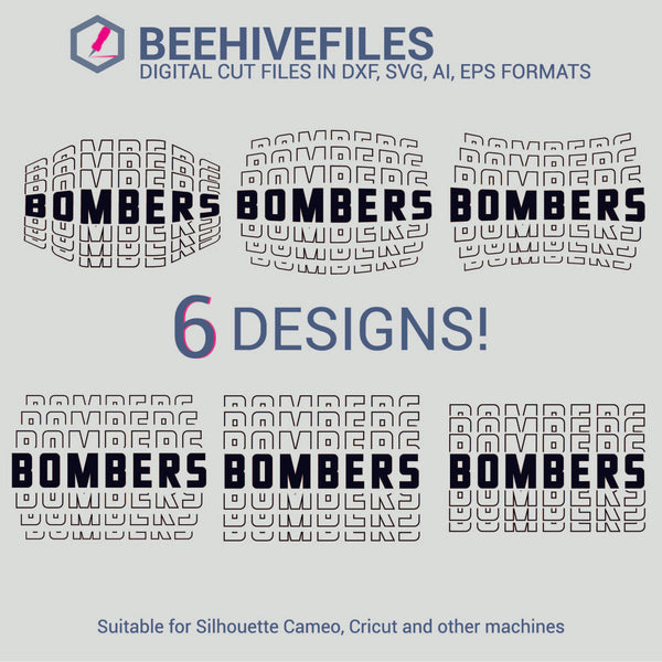 Bombers team name stacked outline 6 styles in svg, dxf, png, ai, eps format - rhinestone templates