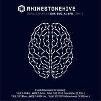 Brains rhinestone template digital download, ai, svg, eps, png, dxf - rhinestone templates