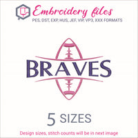 Braves Football Ball Embroidery in DST, EXP, HUS, JEF, PCS, PES, SEW, VIP, VP3 & XXX - rhinestone templates