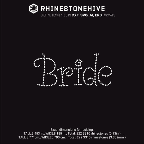 Bride rhinestone template digital download, ai, svg, eps, png, dxf - rhinestone templates