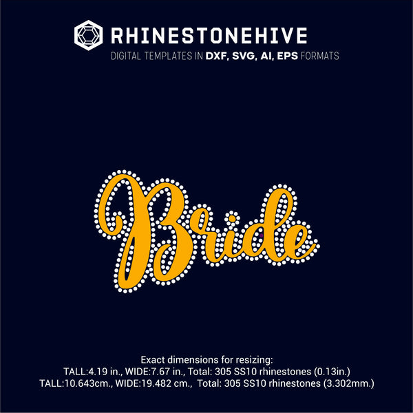 Bride HTV rhinestone template digital download, ai, svg, eps, png, dxf - rhinestone templates