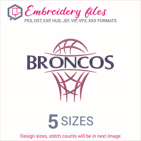 Broncos team Basketball Embroidery in DST, EXP, HUS, JEF, PCS, PES, SEW, VIP, VP3 & XXX - rhinestone templates