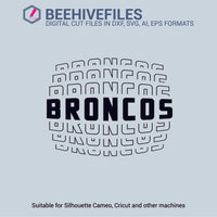 Broncos team name stacked outline 6 styles in svg, dxf, png, ai, eps format - rhinestone templates