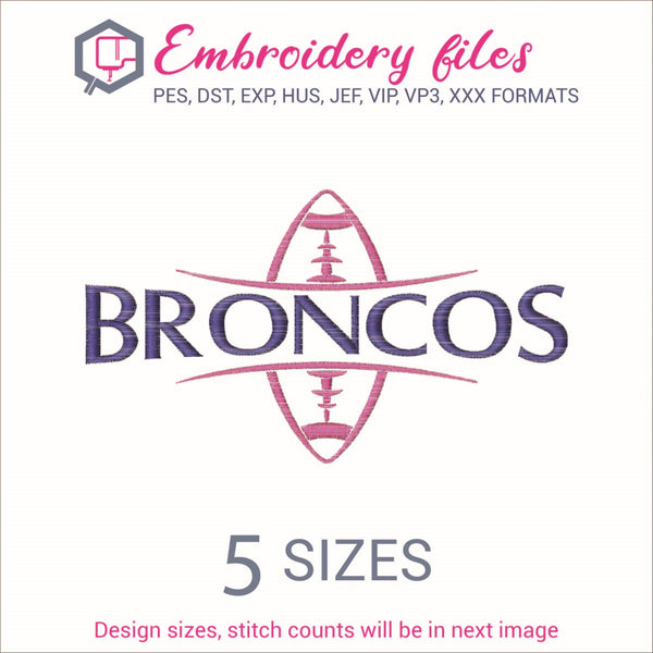 Broncos Football Ball Embroidery in DST, EXP, HUS, JEF, PCS, PES, SEW, VIP, VP3 & XXX - rhinestone templates