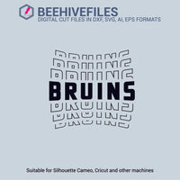 Bruins team name stacked outline 6 styles in svg, dxf, png, ai, eps format - rhinestone templates