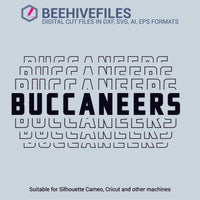 Buccaneers team name stacked outline 6 styles in svg, dxf, png, ai, eps format - rhinestone templates