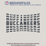 Buccaneers team name stacked 6 styles in svg, dxf, png, ai, eps format - rhinestone templates