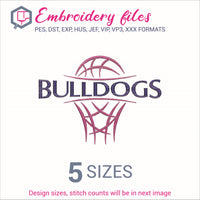 Bulldogs team Basketball Embroidery in DST, EXP, HUS, JEF, PCS, PES, SEW, VIP, VP3 & XXX - rhinestone templates