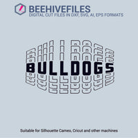 Bulldogs team name stacked outline 6 styles in svg, dxf, png, ai, eps format - rhinestone templates