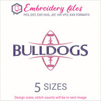 Bulldogs Football Ball Embroidery in DST, EXP, HUS, JEF, PCS, PES, SEW, VIP, VP3 & XXX - rhinestone templates