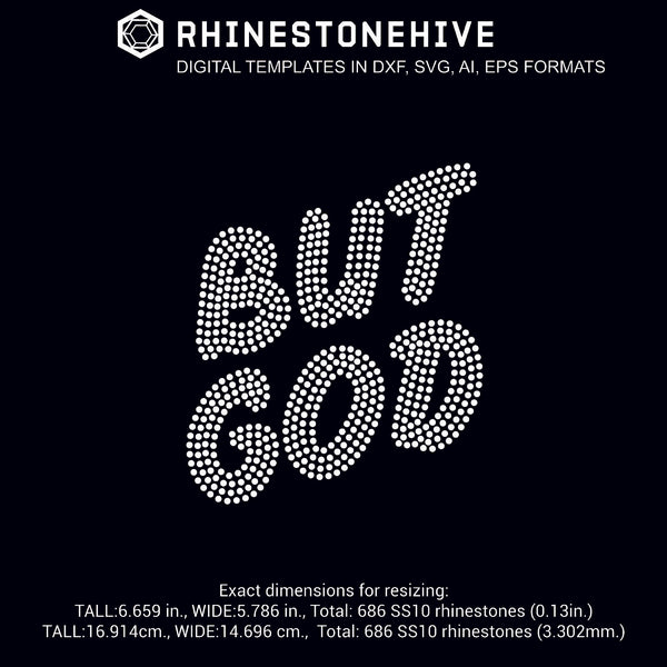 But god rhinestone template digital download, ai, svg, eps, png, dxf - rhinestone templates