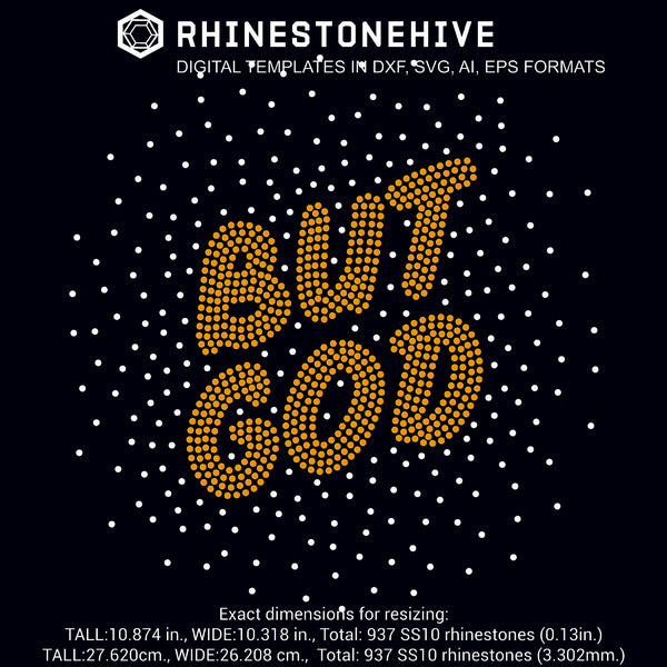 But god scattered rhinestone template digital download, ai, svg, eps, png, dxf - rhinestone templates