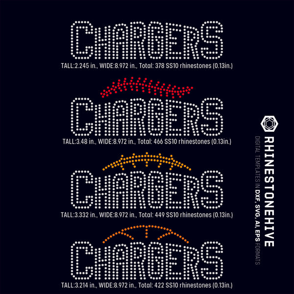 Chargers team baseball, football, basketball, sport digital rhinestone templates, ai, svg, eps, png, dxf - rhinestone templates