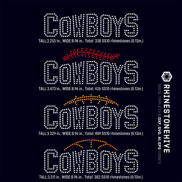 Cowboys team baseball, football, basketball, sport digital rhinestone templates, ai, svg, eps, png, dxf - rhinestone templates