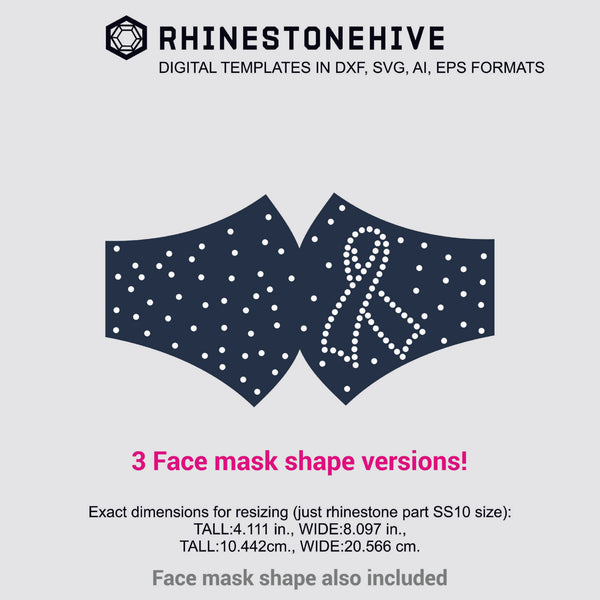 3 Face mask Cancer awareness ribbon rhinestone templates digital download, ai, svg, eps, png, dxf - rhinestone templates