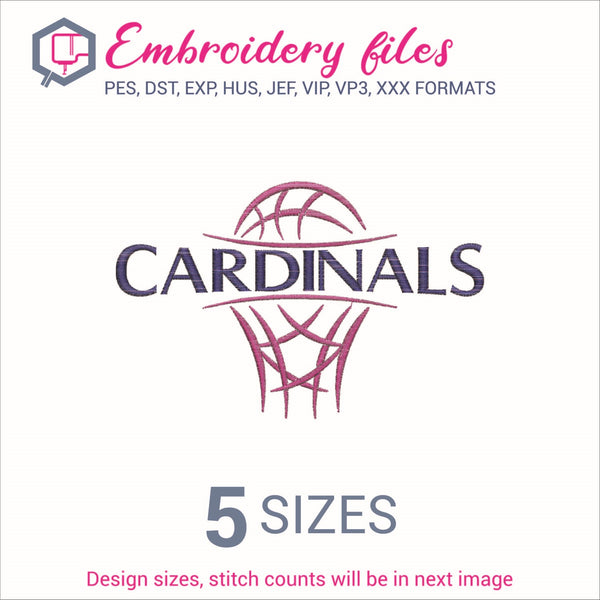 Cardinals team Basketball Embroidery in DST, EXP, HUS, JEF, PCS, PES, SEW, VIP, VP3 & XXX - rhinestone templates