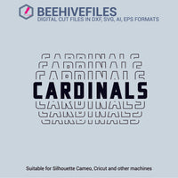 Cardinals team name stacked outline 6 styles in svg, dxf, png, ai, eps format - rhinestone templates