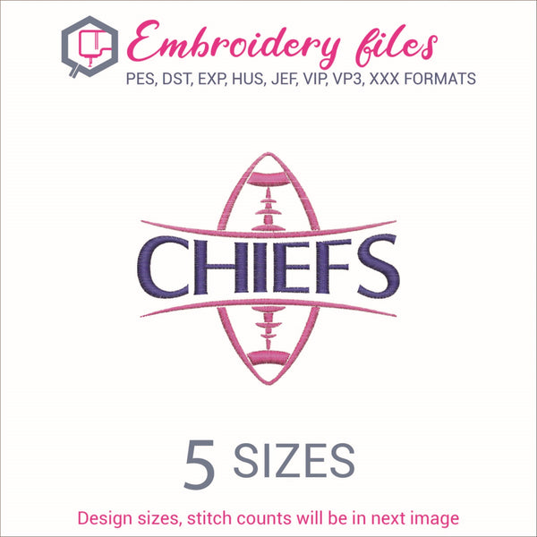 Chiefs  Football Ball Embroidery in DST, EXP, HUS, JEF, PCS, PES, SEW, VIP, VP3 & XXX - rhinestone templates