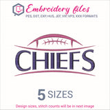 Chiefs Football Embroidery in DST, EXP, HUS, JEF, PCS, PES, SEW, VIP, VP3 & XXX - rhinestone templates