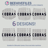 Cobras team name stacked outline 6 styles in svg, dxf, png, ai, eps format - rhinestone templates