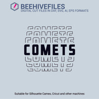 Comets team name stacked outline 6 styles in svg, dxf, png, ai, eps format - rhinestone templates
