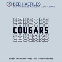 Cougars team name stacked outline 6 styles in svg, dxf, png, ai, eps format - rhinestone templates