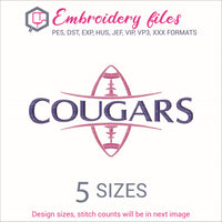 Cougars Football Ball team name Embroidery in DST, EXP, HUS, JEF, PCS, PES, SEW, VIP, VP3 & XXX - rhinestone templates