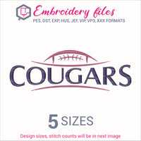 Cougars Football Embroidery in DST, EXP, HUS, JEF, PCS, PES, SEW, VIP, VP3 & XXX - rhinestone templates